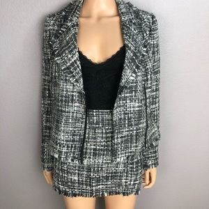 Guess Fringed Tweed Suit Jacket and Mini Skirt